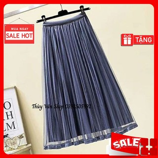 Mã 9903 Chân váy xoè nhung pha von lưới hàng loại 1 Quảng Châu