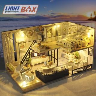 Nhà búp bê Tự làm bằng gỗ [LIGHT SHADOW OF TIME + đèn LED ] Tặng kèm khung bảo vệ và dụng cụ keo