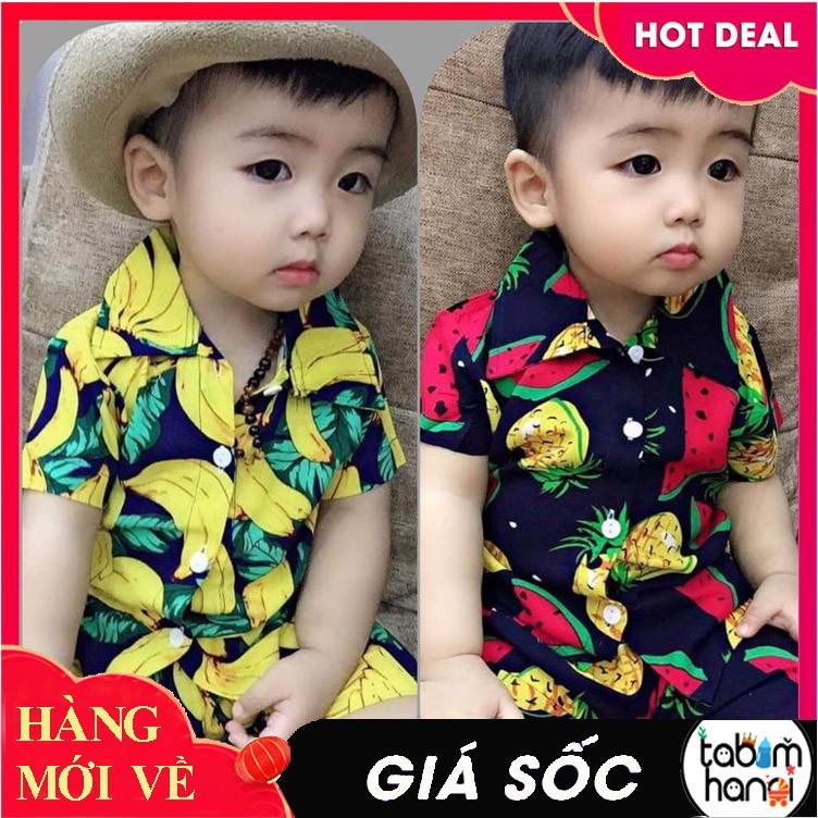 Bộ quần áo trẻ em vải lanh hoa quả - Bộ đồ cho bé trai và bé gái QATE223