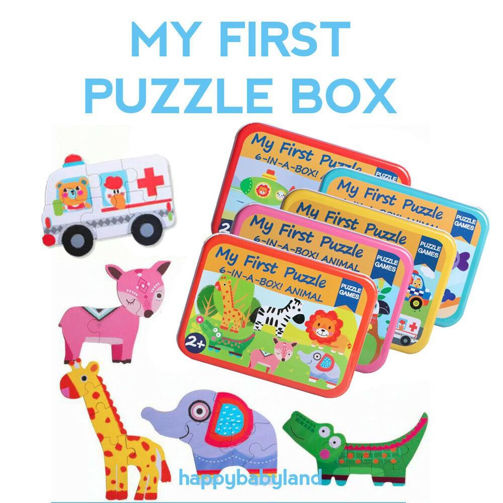 Bộ ghép hình  MY FIRST PUZZLE 6-in-a-box - Hộp thiếc - Gồm 6 bức tranh nhỏ cho bé tập làm quen thế giới