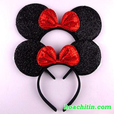 Cài Mickey Nơ Đỏ Kim Tuyến