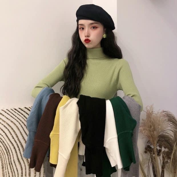 Áo Len Nữ Cổ Lọ Lông Cừu Hàng Quảng Châu Cao Cấp. Với chất liệu len lông cừu mềm mịn, dày dặn, giặt khôn lo bai không xù