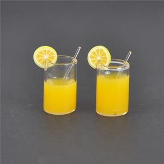 2X Mini Lemon Water Cup Dollhouse Accessories Toy Mini Decor Gift 1:12