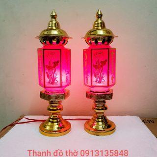 1 đôi đèn thờ lục giác cỡ To, chiều cao 40cm, xi màu đồng bền đẹp