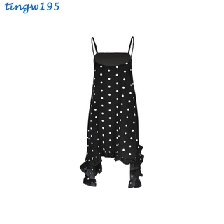 Women's Dress Polka Dot Print Irregular Sling Dress Chiffon for