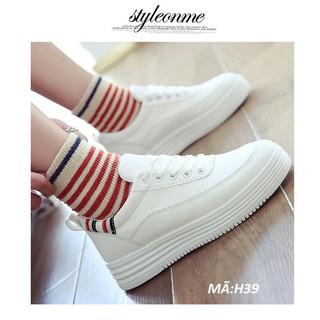 giày thể thao nữ màu trắng, giày nữ trắng đế cao 0964544406