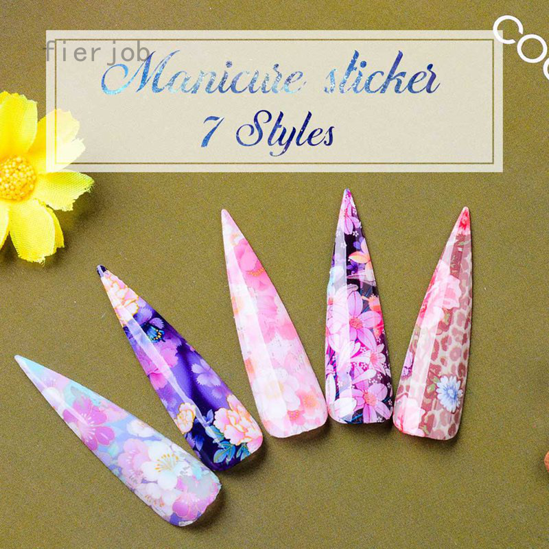Fierjob 10Girds Nail Star Transfer Sticker Laser Flower Star Paper Nail Art Stickers Tips Wraps DIY Nail Decoration,