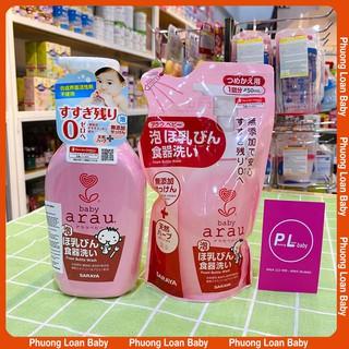 Nước rửa bình Arau Baby Nhật chai 500ml túi 450ml chính hãng