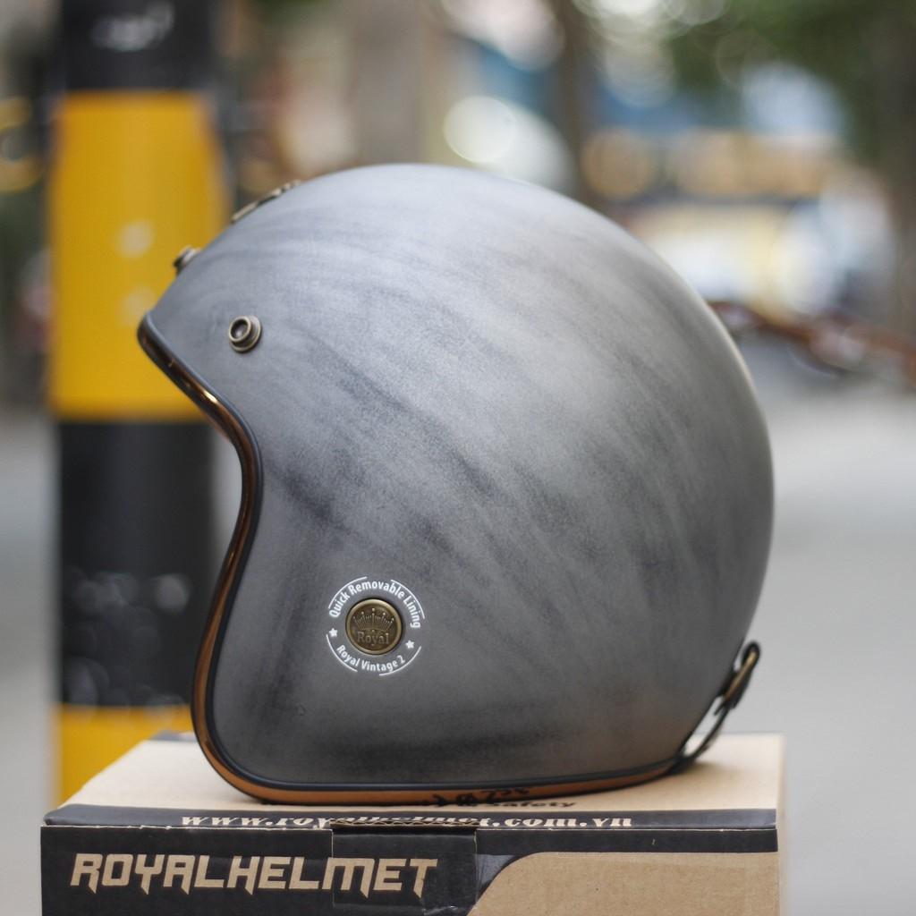 Mũ bảo hiểm 3/4 Royal M20C xám chuột nhám viền inox cao cấp