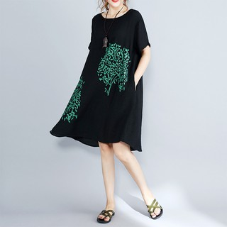 Real shot summer new style plus size women's silk and linen loose and thin printed mid-length short-sleeved dress