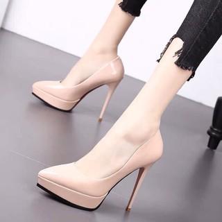 Kèm ảnh thật I Giày cao gót da bóng gót nhọn 12p đúp trước đế đỏ hàng xuất cực chắc chân