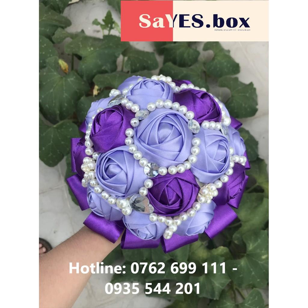 Hoa cưới phụ kiện tím 1