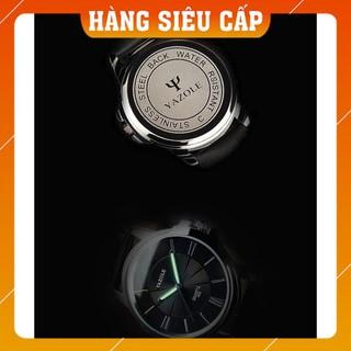 [CAO CẤP] Đồng hồ nam Yazole 332 dây da thời trang cực chất (Vỏ đen)