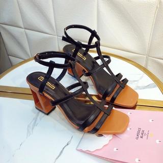Giày sandal cao gót, giày cao gót nữ hở mũi gót khoét siêu HÓT gót cao 7cm 2 màu đen và kem [giá sỉ ]