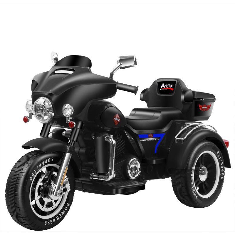 Xe máy điện moto 3 bánh ABM 5288 dáng thể thao cảnh sát cho bé đạp ga