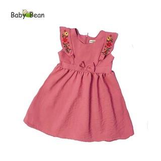Đầm Đũi thêu Hoa Bèo Dọc bé gái BabyBean (XANH, HỒNG RUỐC)