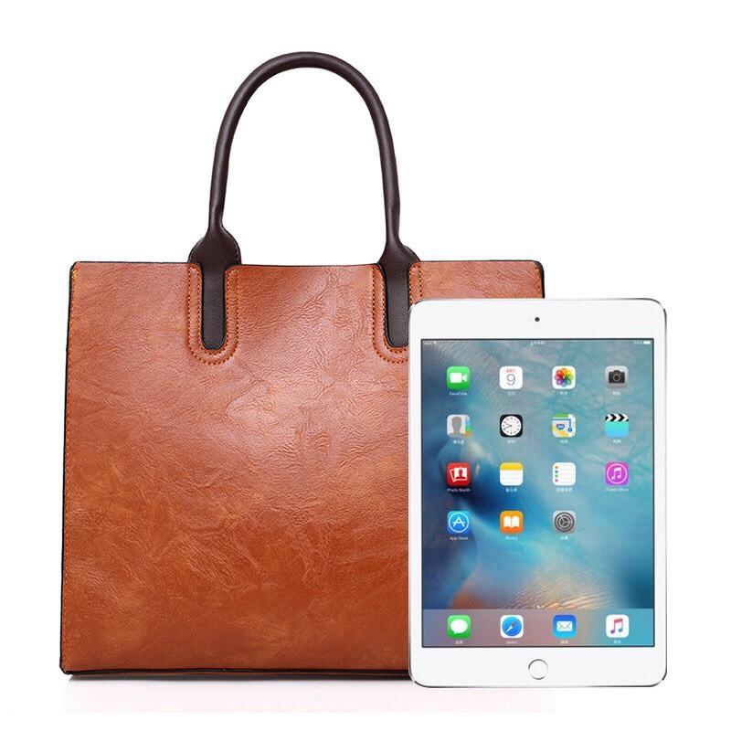 Túi xách tay đeo chéo nữ dáng đứng 32x28x12cm (Đỏ-Đen-Da bò)