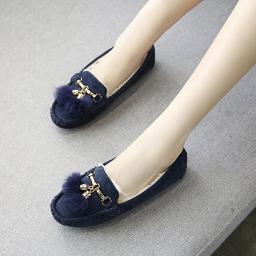 Women Winter Tassel Flats Shoes Lady Casual Soft Pea Shoes Boots