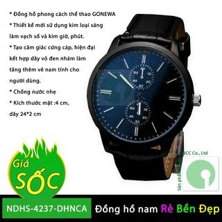 Đồng hồ nam đeo tay bằng dây da PU, kiểu dáng châu âu mạnh mẽ - NDHS-4237-DHNCA