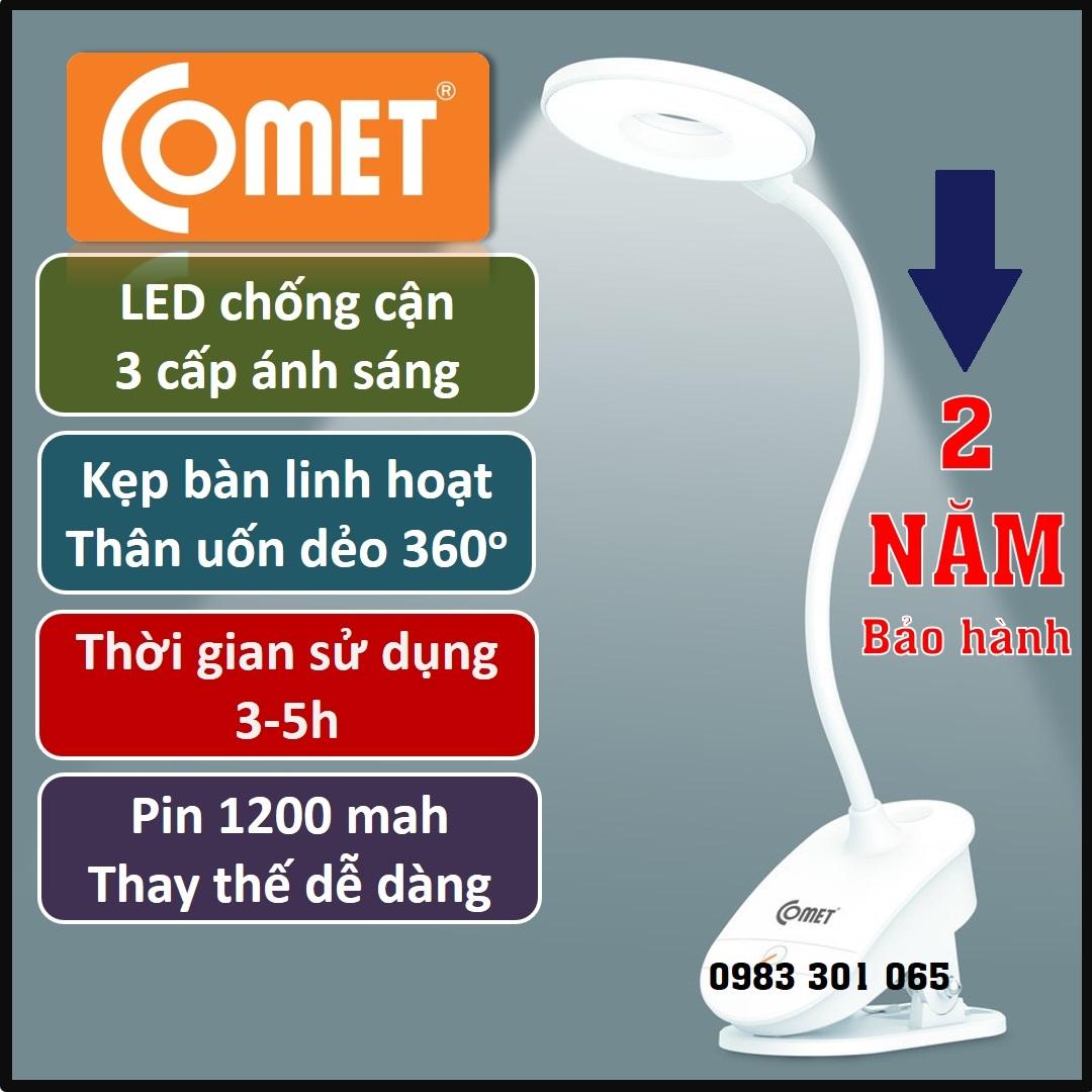 Đèn học kẹp bàn đọc sách Sạc pin tích điện chống cận COMET, thân đèn uốn  dẻo, 3 cấp ánh sáng, 3-5h hoạt động (CT 174) tại Hà Nội
