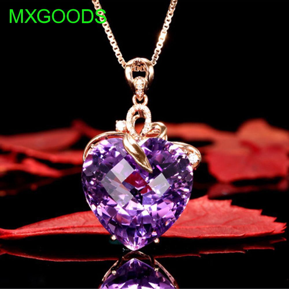 Rose Gold Jewelry Crystal Purple Zirconia Necklace