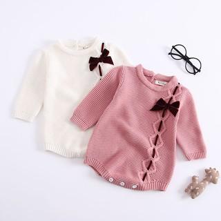 Bộ áo liền quần dệt kim đính nơ xinh xắn thời trang dành cho trẻ sơ sinh