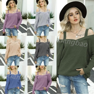 10MS Women Long Sleeve Chunky Knit Sweater Sexy Cold Shoulder Solid Color Tunic Tops