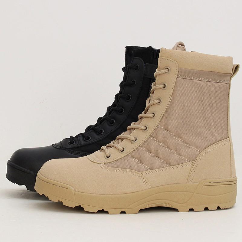 TR❤Giày Boot da kiểu dáng quân đội cho nam
