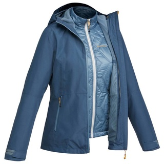 Decathlon Forclaz áo khoác leo núi trekking 3 trong 1 rainwarm 500 cho nữ - xanh dương thumbnail