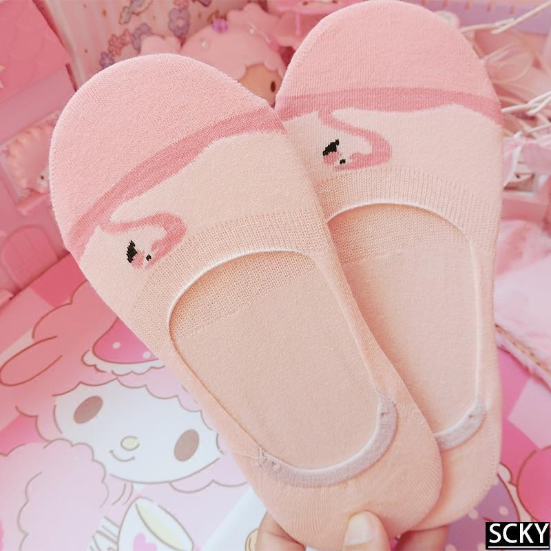 ★Japanese cute cartoon flamingo socks low to help cotton sil