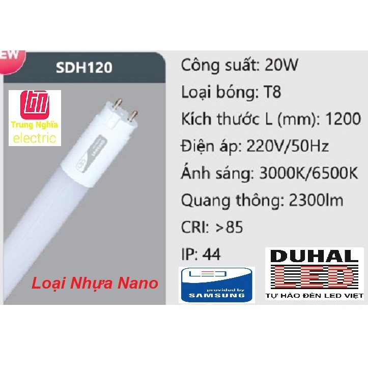 [GIÁ HỦY DIỆT] [CHÍNH HÃNG] Bóng Led Tuýp Nhựa Nano 1m2 Duhal SAMSUNG (20W) - SDH120