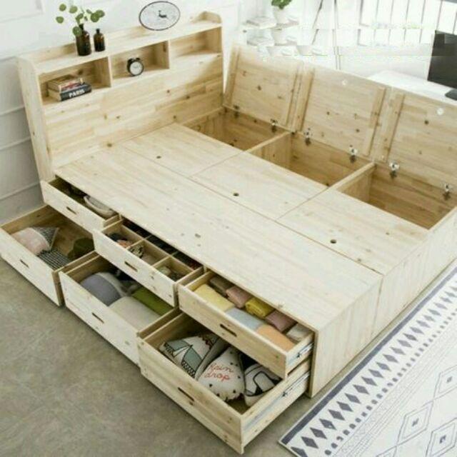 Giường gỗ ghép các hộc tủ thành nhiều size
