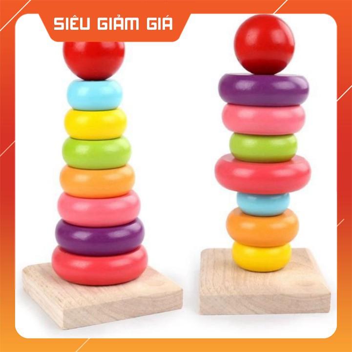 - Tháp gỗ xếp chồng gỗ 7 màu mini