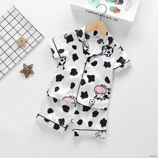Bộ đồ ngủ ngắn tay in hình bò sữa dễ thương dành cho trẻ em