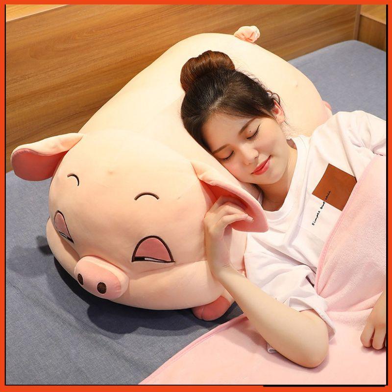 Gấu Bông Heo Phê Cần, Gối ôm Heo Mắt Híp Lợn Ngủ Đờ Đẫn Siêu Đáng Yêu-Gấu Bông Heo Buồn Ngủ Siêu Mềm Mịn Kích thước 1.1M