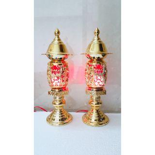 1 đôi đèn thờ Phú Quý mạ màu đồng cao 30cm ( cỡ nhỏ cao 25cm)