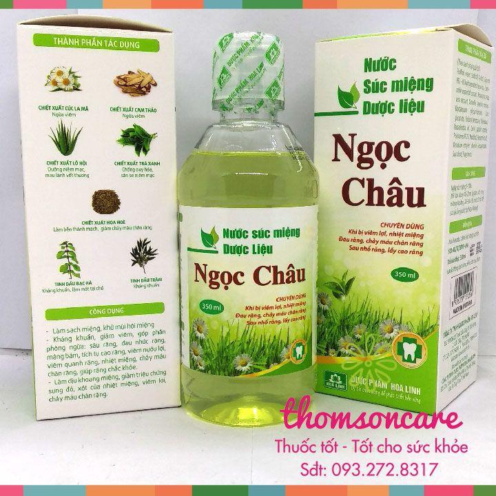 Nước súc miệng dược liệu Ngọc Châu - giảm nhiệt, hôi miệng từ trà xanh, bạc hà, tinh dầu tràm chai xúc 350ml