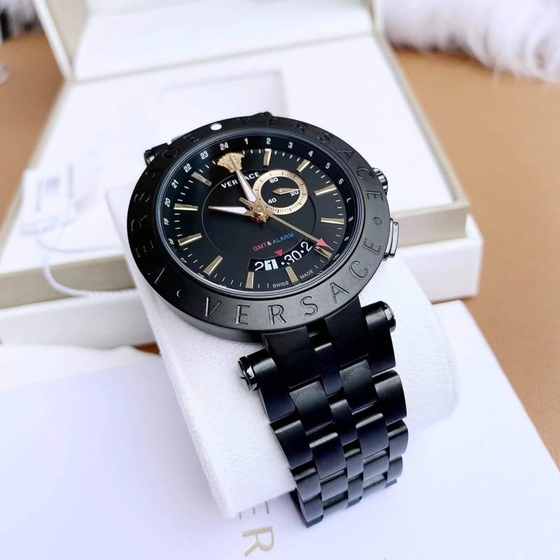 Đồng hồ nam Versace V-Race GMT Alarm Black Plated Men's Watch .