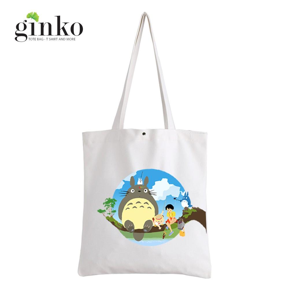 Túi Vải Tote GINKO Kiểu Basic In Hình Totoro & Friends G13