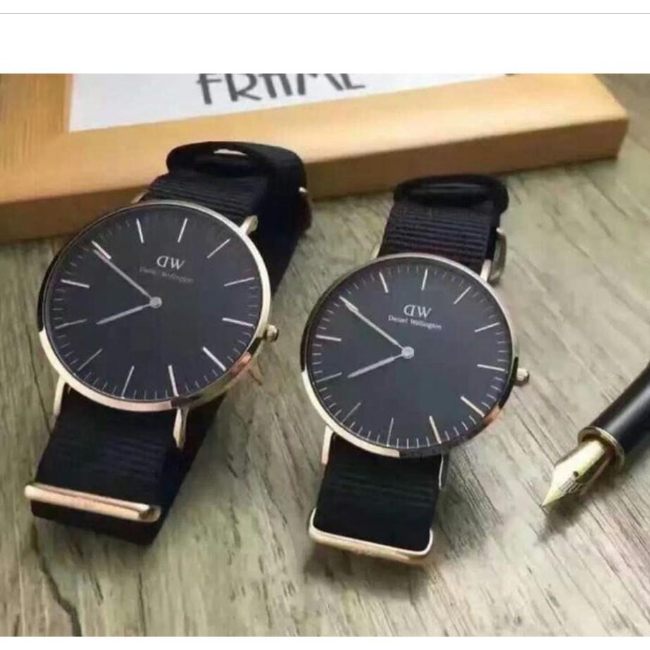 ของแท้ซื้อ danielwellingtondw นาฬิกานาฬิกานาฬิกาคู่สำหรับชายและหญิงและระหว่างประมาณเคลือบกันน้ำสองเข็มที่ถูกต้อง