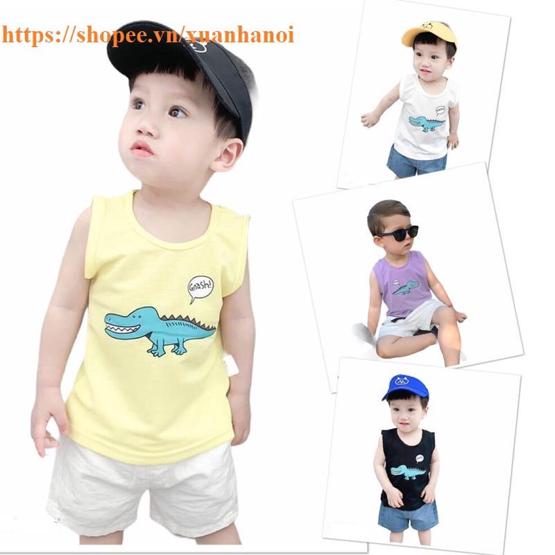 Áo bé trai ba lỗ in 3D cá sấu QATE250