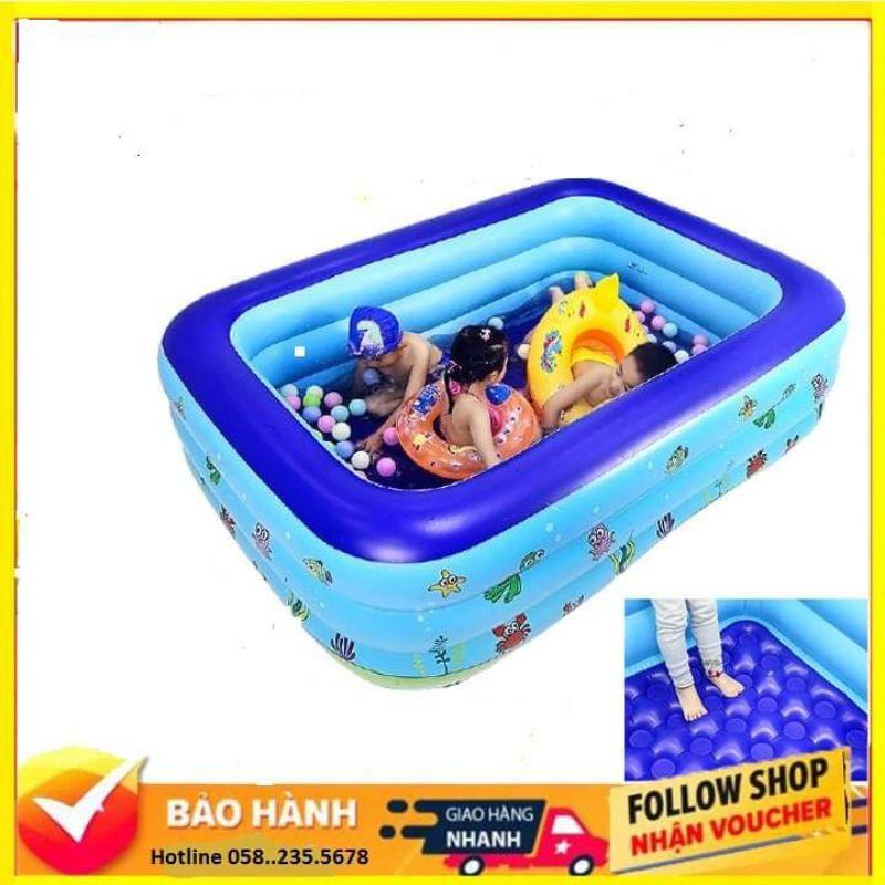 Bể Bơi Phao Trẻ Em 130cm/Bể Bơi Cho Bé /Bể Bơi Trẻ Em Trong Nhà Hình Chữ Nhật/ Bể Bơi size 130X85X55Cm