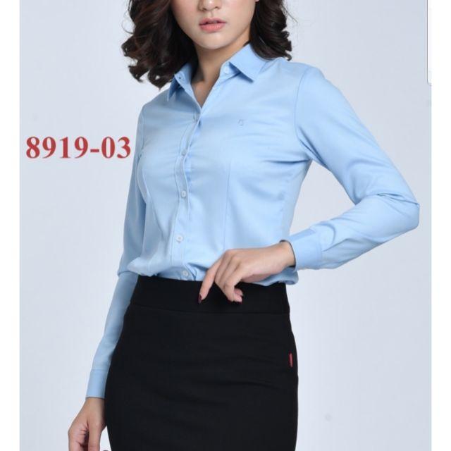 Áo sơ mi nữ Thái Hòa xanh dương vải sợi tre pha c