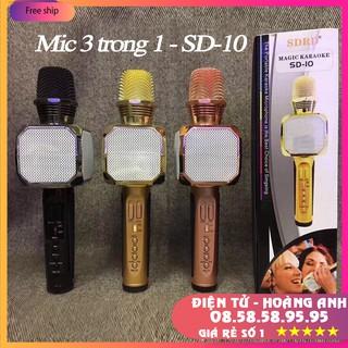Mic hát karaoke bluetooth SD10 (Mic SD08-SD17-SD18-YS90-YS91-YS92-YS93-YS95-L698)  3 in 1 loa to Mic Bass cực chuẩn
