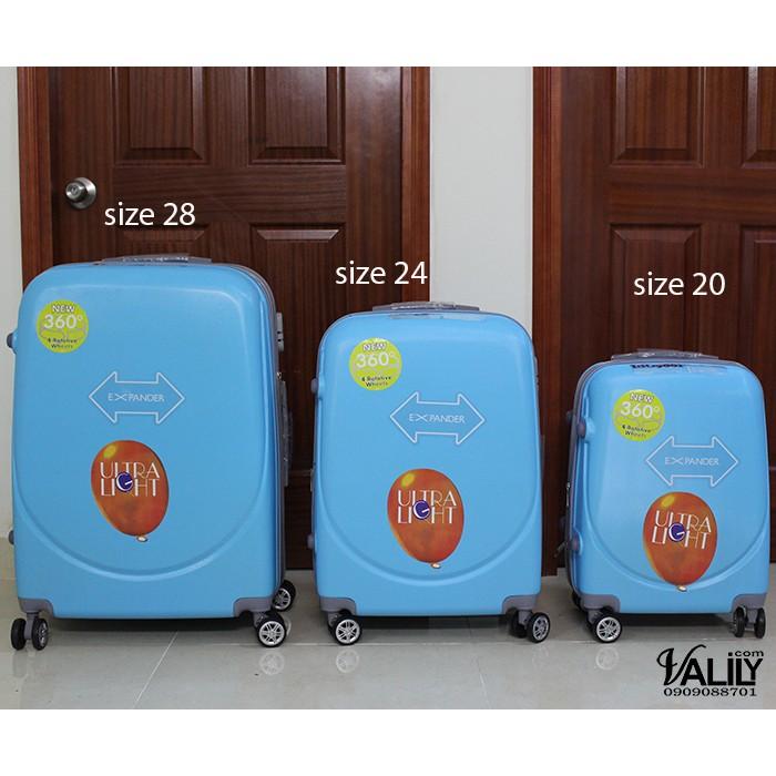 Vali kéo nhựa 360 độ dây kéo đôi - xanh dương - size 20