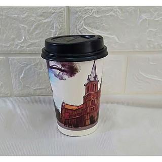 50 Ly Giấy In Hình Nhà Thờ 16oz - 450ml Có Nắp Ly giấy cafe Ly giấy 500ml Ly giấy đựng cà phê Cốc giấy thumbnail