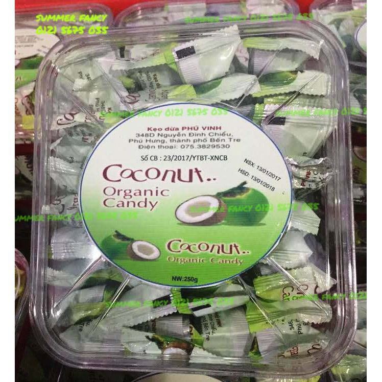 [CỰC HOT] 250g Kẹo dừa Phú Vinh Organic hộp nhựa - Coconut candy