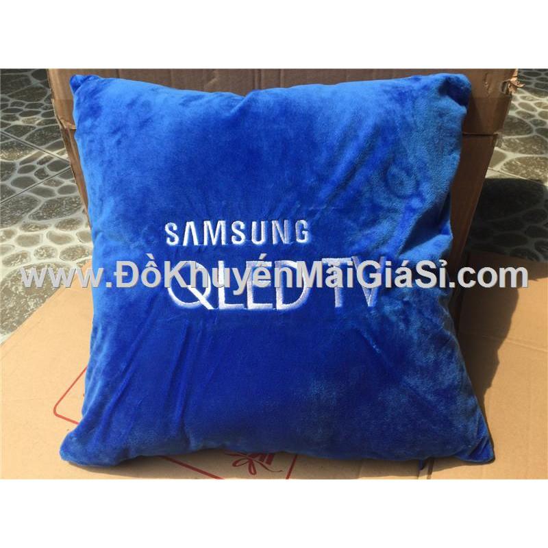 Gối tựa lưng Samsung hình vuông màu xanh - Kt: (40 x 40) cm.