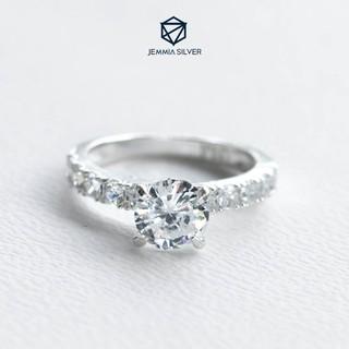 Nhẫn bạc nữ Jemmia viền đá lấp lánh - JM1055