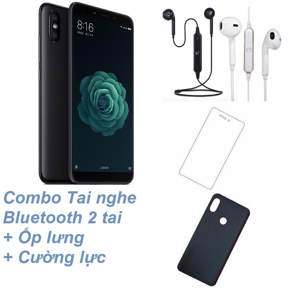 Combo Điện thoại Xiaomi Mi 6X 64GB Ram 4GB Ram 4GB + Tai nghe Bluetooth 2 tai + Cường lực + Ốp lưng